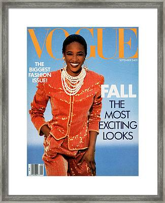 Vogue Cover Featuring Naomi Campbell Framed Print by Patrick Demarchelier