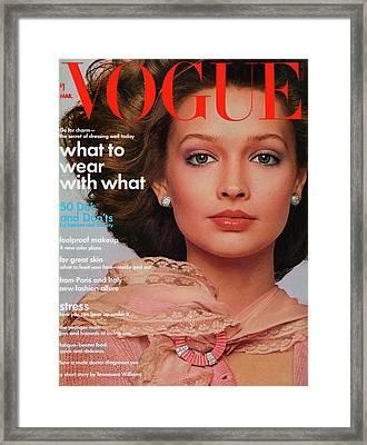 Vogue Cover Featuring Paula Klimak Framed Print by Francesco Scavullo