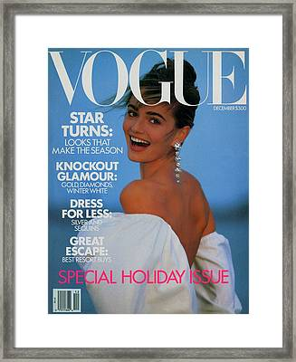 Vogue Cover Featuring Paulina Porizkova Framed Print by Patrick Demarchelier