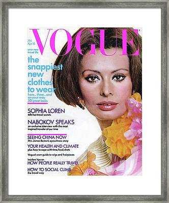 Vogue Cover Featuring Sophia Loren Framed Print by Henry Clarke