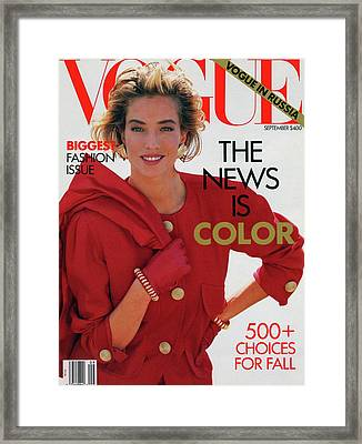 Vogue Cover Featuring Tatjana Patitz Framed Print by Patrick Demarchelier