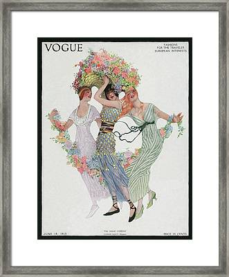 Vogue Cover Featuring Three Women With Flowers Framed Print by Sarah Stilwell Weber
