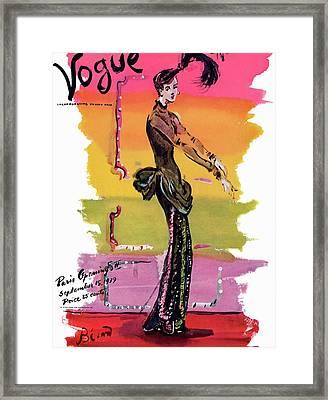 Vogue Cover Illustration Framed Print by Christian Berard