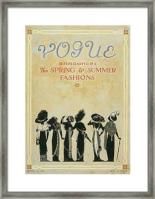 Vogue Cover Illustration Featuring Six Female Framed Print