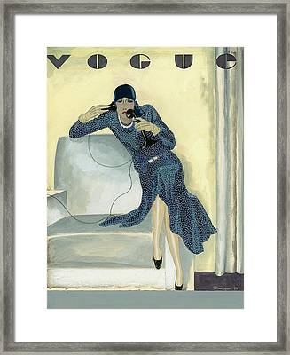 Vogue Cover Illustration Featuring Woman Talking Framed Print by Pierre Mourgue