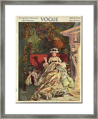 Vogue Cover Illustration Of A 18th Century French Framed Print