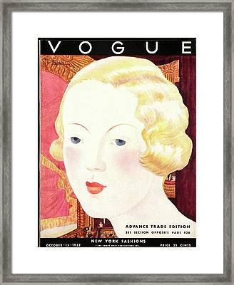 Vogue Cover Illustration Of A Blond Woman Framed Print by Georges Lepape