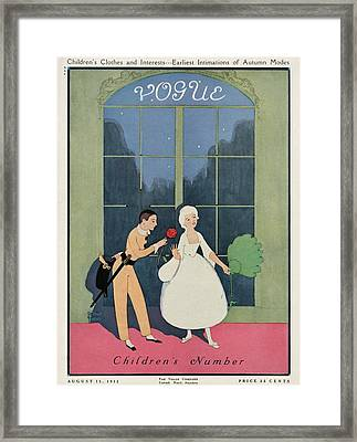 Vogue Cover Illustration Of A Boy Offering A Girl Framed Print