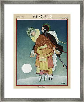 Vogue Cover Illustration Of A Couple Dancing Framed Print
