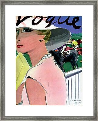 Vogue Cover Illustration Of A Woman Framed Print by Carl Oscar August Erickson