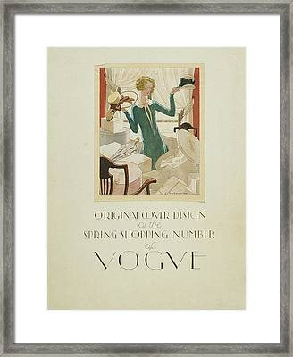 Vogue Cover Illustration Of A Woman Holding Two Framed Print