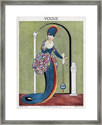Vogue Cover Illustration Of A Woman In A Blue Framed Print by George Wolfe Plank