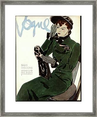 Vogue Cover Illustration Of A Woman In A Green Framed Print by Pierre Mourgue