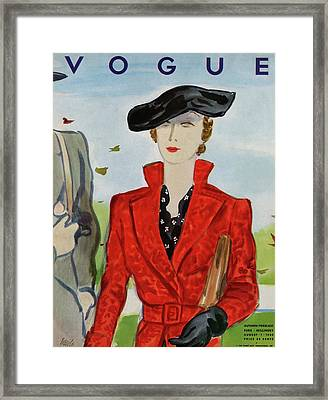 Vogue Cover Illustration Of A Woman In A Red Coat Framed Print