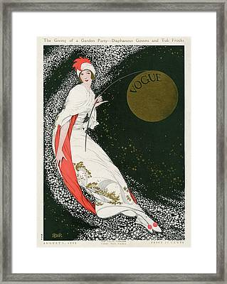 Vogue Cover Illustration Of A Woman In A White Framed Print
