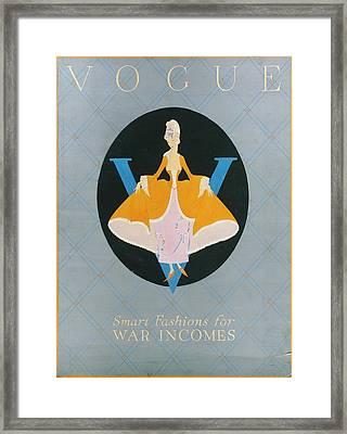 Vogue Cover Illustration Of A Woman In An Orange Framed Print by Dorothy Edinger