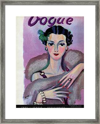 Vogue Cover Illustration Of A Woman In Evening Framed Print