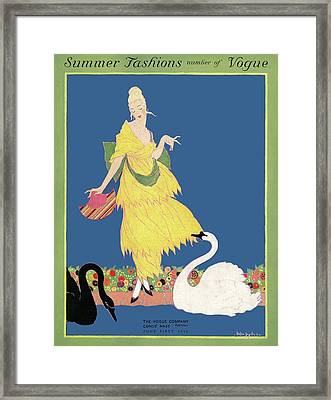 Vogue Cover Illustration Of A Woman Looking Framed Print by Helen Dryden