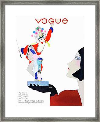 Vogue Cover Illustration Of A Woman Looking Framed Print