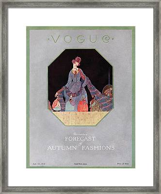 Vogue Cover Illustration Of A Woman Looking Framed Print by  Unknown