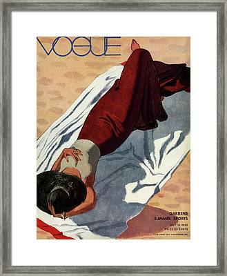 Vogue Cover Illustration Of A Woman Lying Framed Print