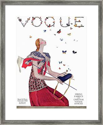 Vogue Cover Illustration Of A Woman Releasing Framed Print by Eduardo Garcia Benito