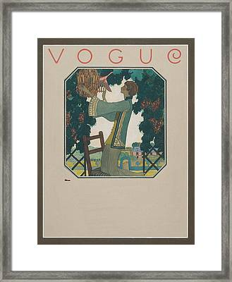 Vogue Cover Illustration Of A Woman Releasing Framed Print by Leslie Saalburg