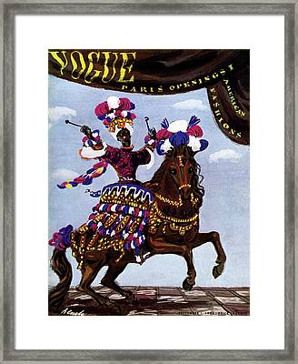 Vogue Cover Illustration Of A Woman Riding A Horse Framed Print