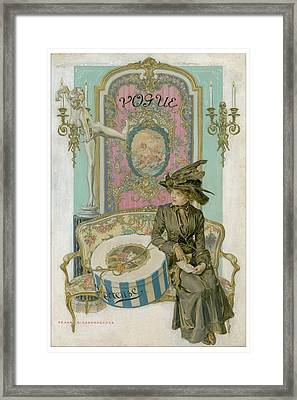 Vogue Cover Illustration Of A Woman Sitting Framed Print by Frank X. Leyendecker