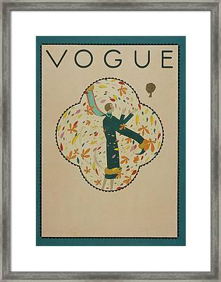 Vogue Cover Illustration Of A Woman Standing Framed Print by Harriet Meserole