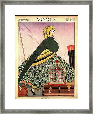 Vogue Cover Illustration Of A Woman Walking Framed Print by Helen Dryden