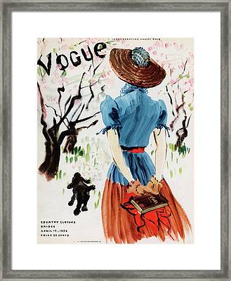 Vogue Cover Illustration Of A Woman Walking Framed Print by Rene Bouet-Willaumez