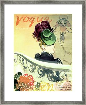 Vogue Cover Illustration Of A Woman Wearing Framed Print by Carl Oscar August Erickson