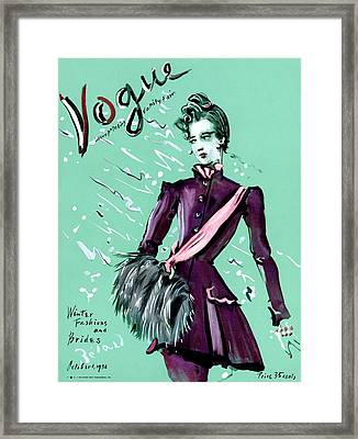 Vogue Cover Illustration Of A Woman Wearing Framed Print
