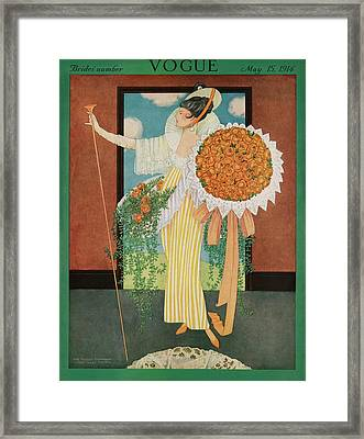 Vogue Cover Illustration Of A Woman Wearing Framed Print by George Wolfe Plank