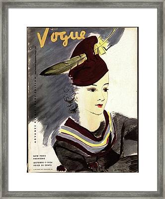 Vogue Cover Illustration Of A Woman Wearing Framed Print by Jean Pag?s