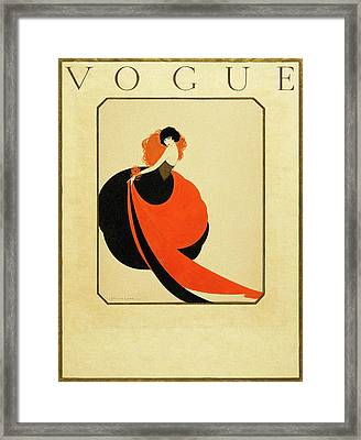 Vogue Cover Illustration Of A Woman Wearing Framed Print by Reinaldo Luza