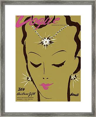 Vogue Cover Illustration Of A Woman Wearing Star Framed Print