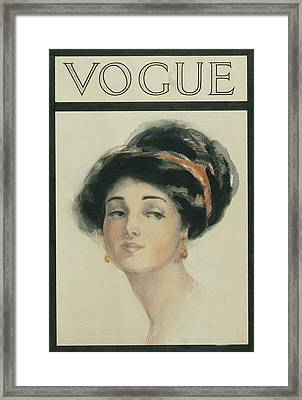 Vogue Cover Illustration Of A Woman With Black Framed Print by Helen Dryden