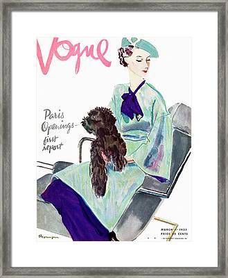 Vogue Cover Illustration Of A Woman With Dog Framed Print by Pierre Mourgue