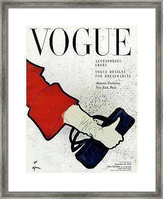 Vogue Cover Illustration Of A Woman's Arm Holding Framed Print by Rene Gruau