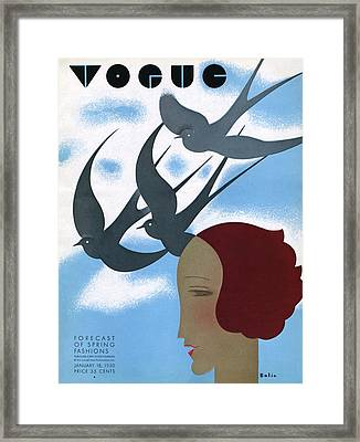 Vogue Cover Illustration Of A Woman's Profile Framed Print