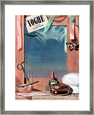 Vogue Cover Illustration Of Cosmetics In Front Framed Print