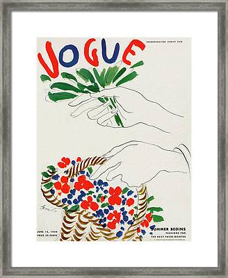 Vogue Cover Illustration Of Hands Holding Framed Print