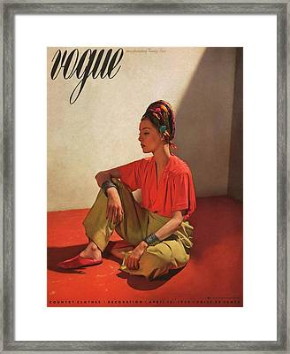 Vogue Cover Illustration Of Model Helen Bennett Framed Print