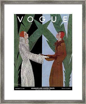 Vogue Cover Illustration Of Two Women Holding Framed Print by Georges Lepape