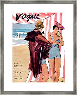 Vogue Cover Illustration Of Two Women At Beach Framed Print by Carl Oscar August Erickson