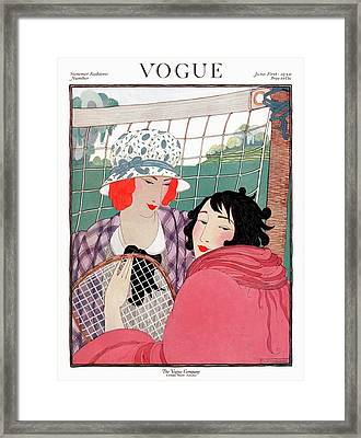 Vogue Cover Illustration Of Two Women In Front Framed Print by Helen Dryden