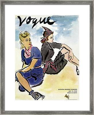 Vogue Cover Illustration Of Two Women Sitting Framed Print by Carl Oscar August Erickson