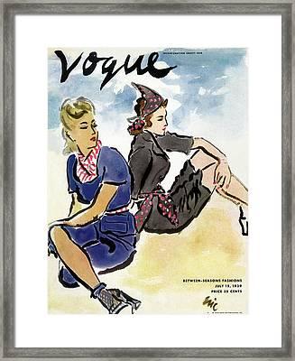 Vogue Cover Illustration Of Two Women Sitting Framed Print